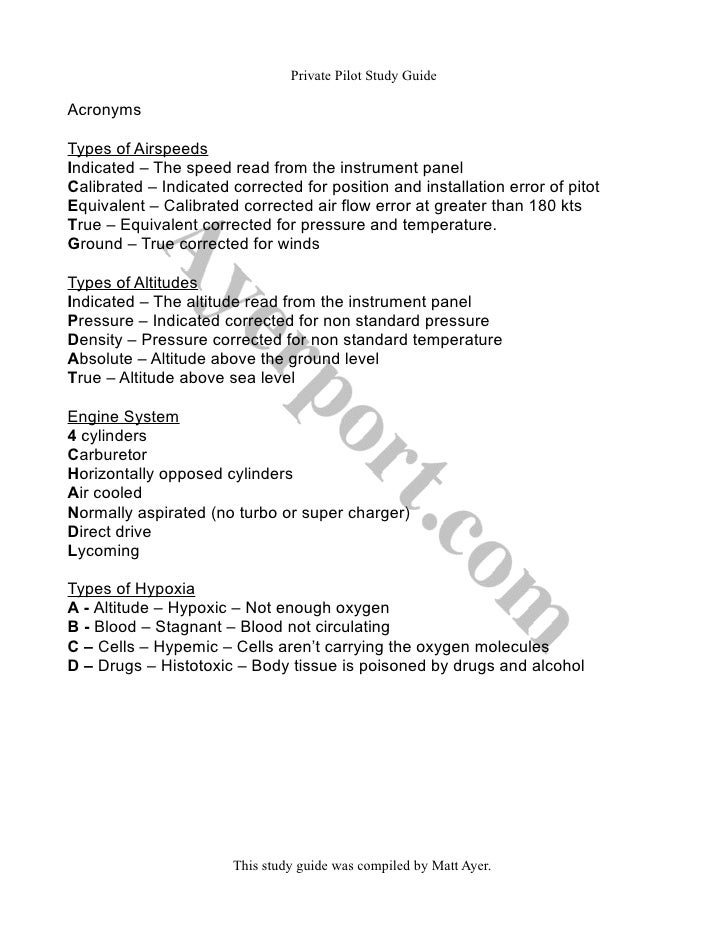 study and reference guide private pilot