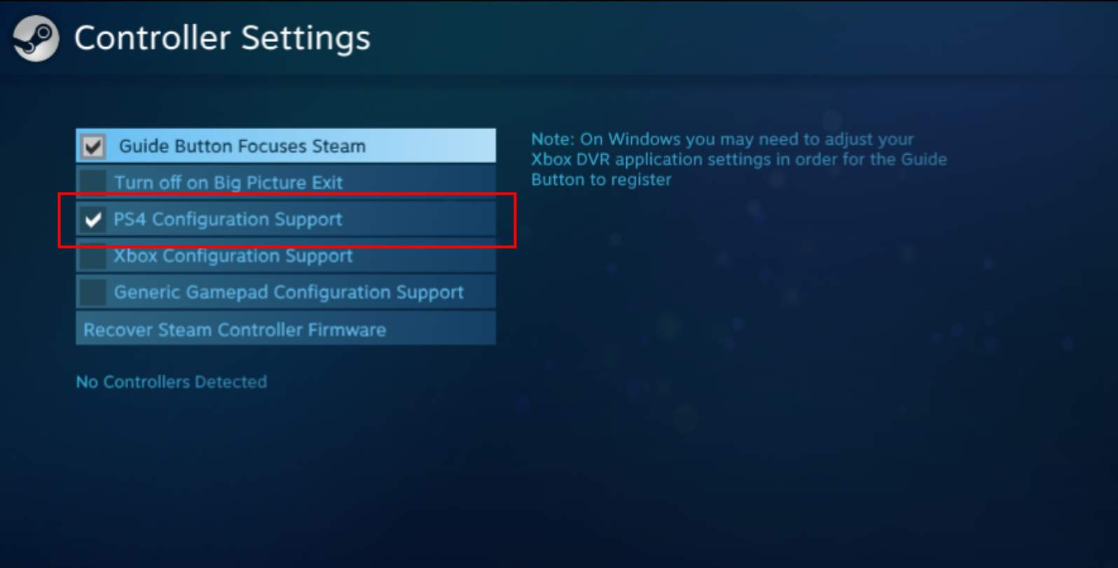 xbox one controller guide button not working steam link